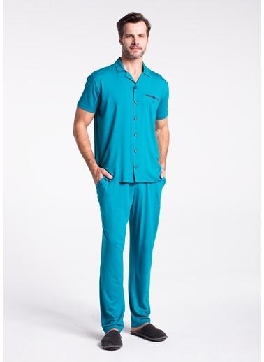 Dagi Gömlek Kısa Kollu Pijama Takımı Mavi